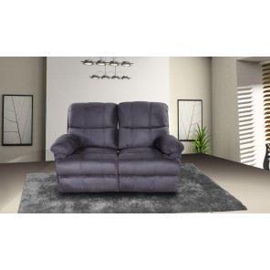 Canap 2 places relax microfibre coloris gris achat vente canap sofa - Canape relax microfibre ...