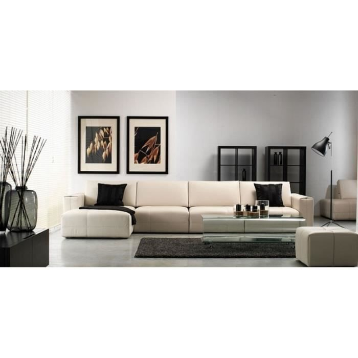 canap d 39 angle cuir blanc cass mambo 3 beige achat vente canap sofa divan soldes. Black Bedroom Furniture Sets. Home Design Ideas