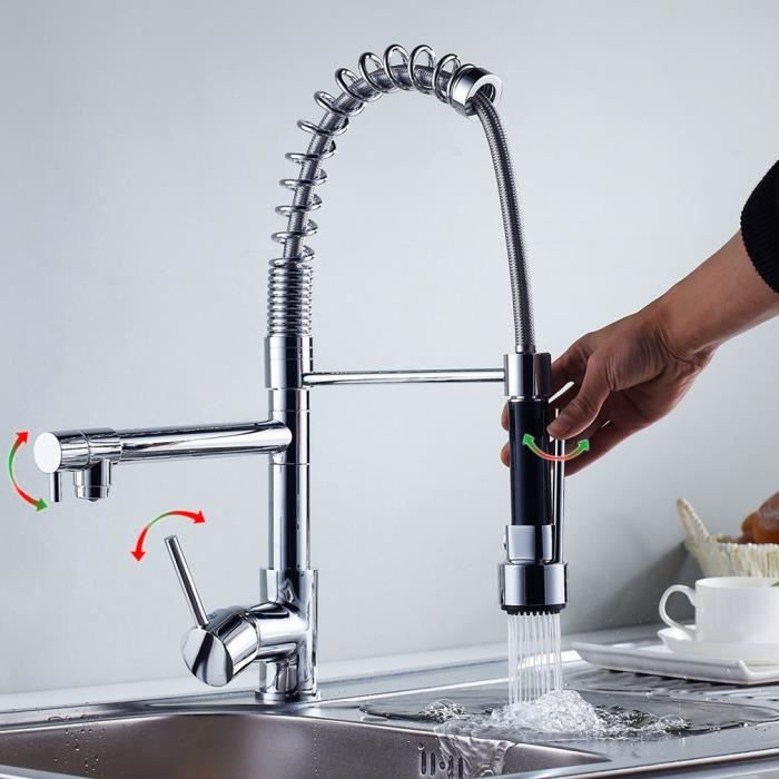 Auralum robinet de cuisine mitigeur d vier douchette - Robinet de cuisine design ...