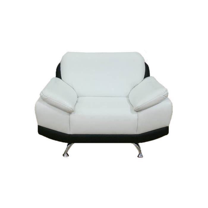 fauteuil pu noir et blanc hudson achat vente fauteuil pu mdf bois polyester polyur thane. Black Bedroom Furniture Sets. Home Design Ideas