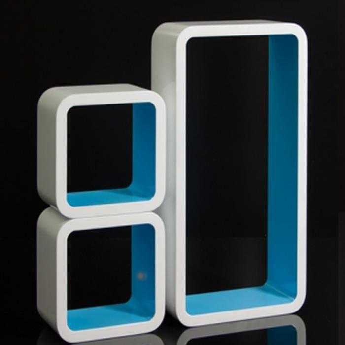tag res cube murale carr en bois de 3 pi ces achat vente etag re murale tag res cube. Black Bedroom Furniture Sets. Home Design Ideas
