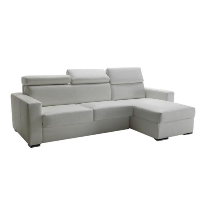 canap lit d 39 angle omega cuir recycl blanc 140cm achat vente canap. Black Bedroom Furniture Sets. Home Design Ideas