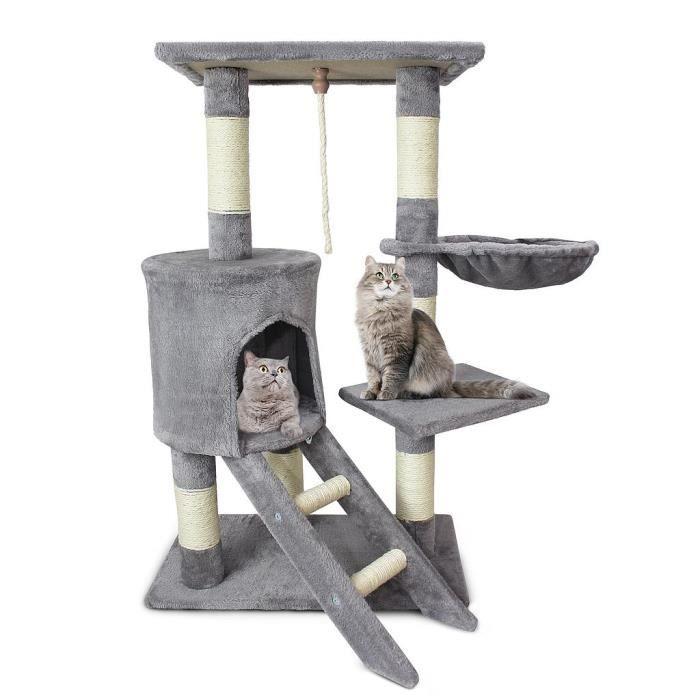 arbre chat gris avec griffoir cabane et hamac diff rentes activit s 90cm de hauteur. Black Bedroom Furniture Sets. Home Design Ideas