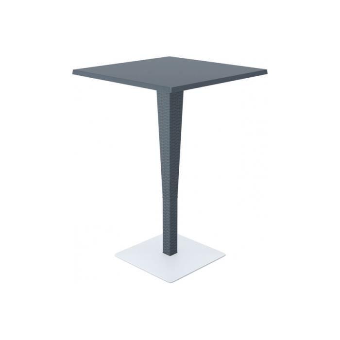 Bar table de bistrot gris fonc 70 70cm achat vente for Table largeur 70 cm