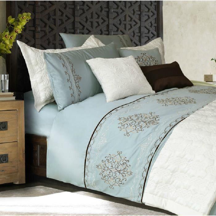 adream parure de lit au style vintage 3 pcs bleu azur achat vente parure de drap cdiscount. Black Bedroom Furniture Sets. Home Design Ideas