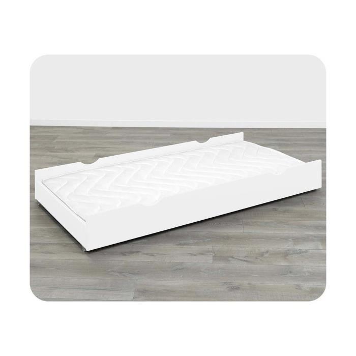 Tiroir de lit bois massif 90x190 cm blanc achat vente tiroir de lit tiroi - Lit bois massif blanc ...