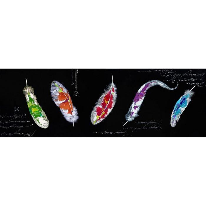 Cadre contemporain plumes couleurs 120 x 40 cm achat for Cadre contemporain