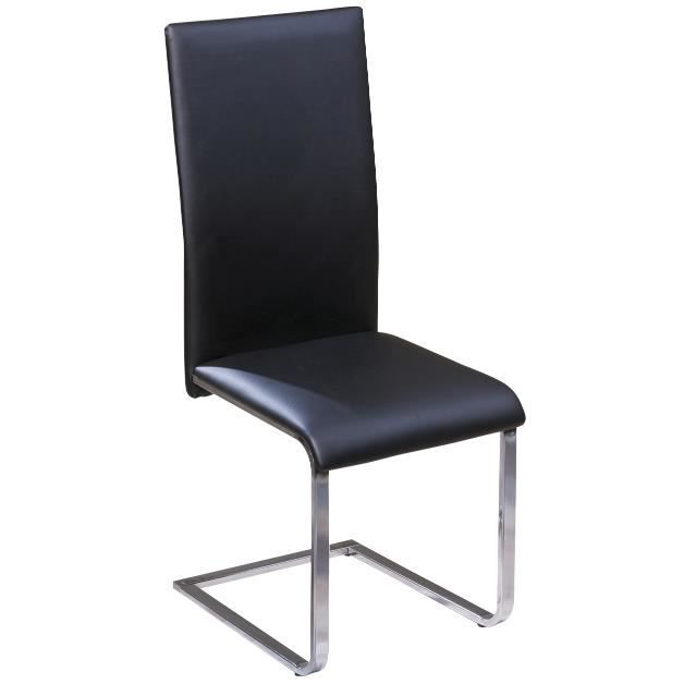 Chaises de salle manger design coloris noir et m tal for Chaise moderne de salle a manger noir