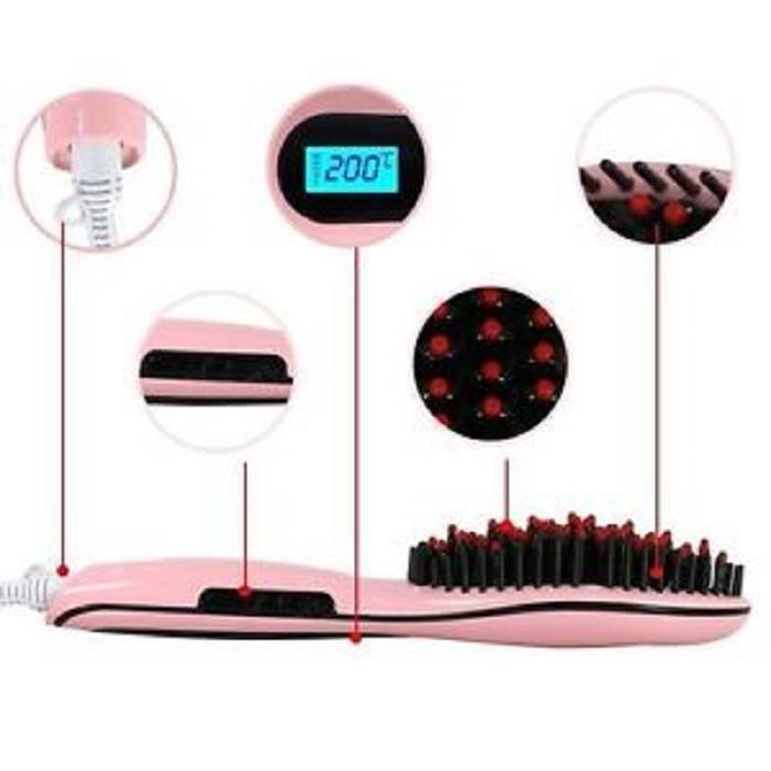 brosse lissante peigne lisseur chauffante c ramique avec. Black Bedroom Furniture Sets. Home Design Ideas
