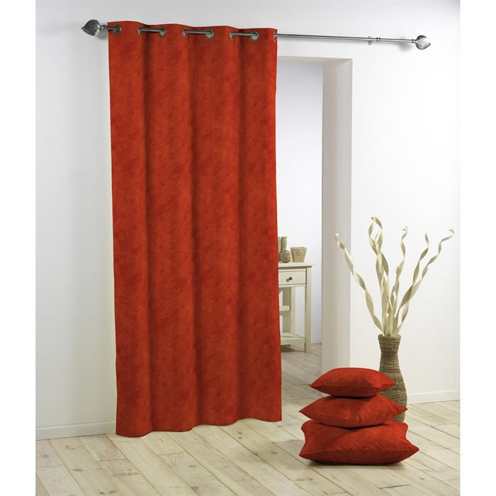 RIDEAU Panneau rideau à oeillets BETON CIRE rouge brique