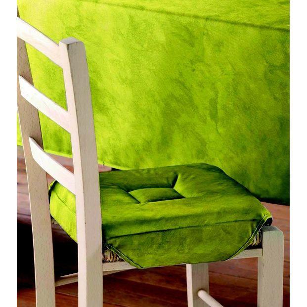 Galette de chaise 4 rabats beton cire vert menthe achat for Galette de chaise 4 rabats