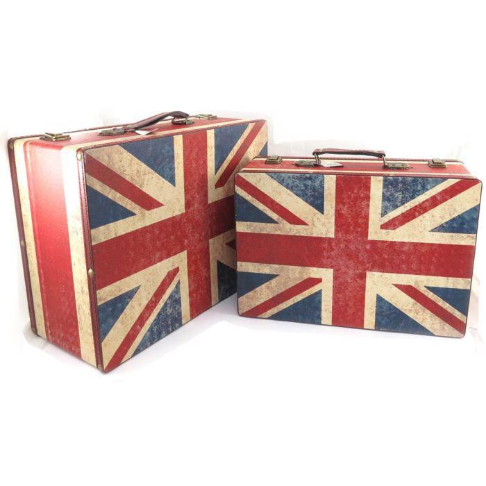 Set de 2 valisettes coffres bois union jack rouge bleu superbe - Malle drapeau anglais ...