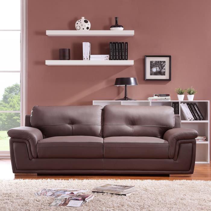 canap en cuir avec assise et dossier rembourr s augusto chocolat3 places achat vente canap. Black Bedroom Furniture Sets. Home Design Ideas