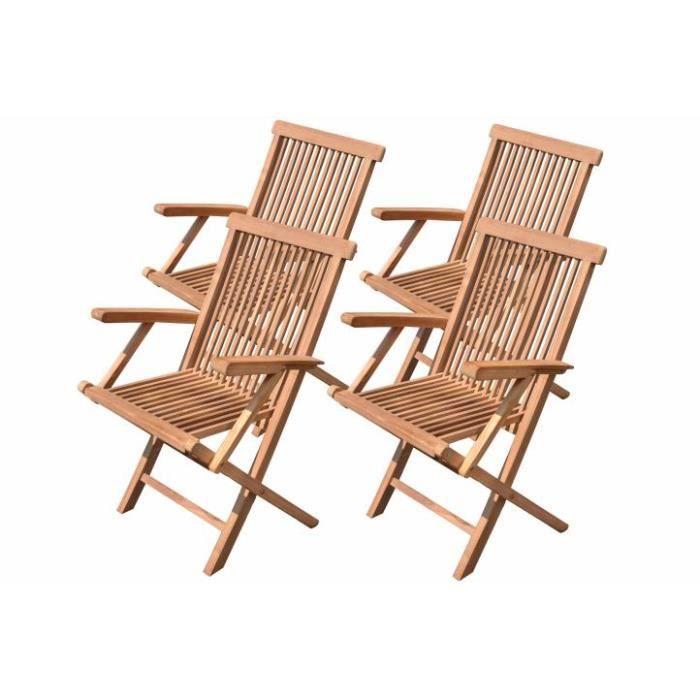 4 x chaise pliante en teck massif achat vente chaise - Chaise pliante teck ...