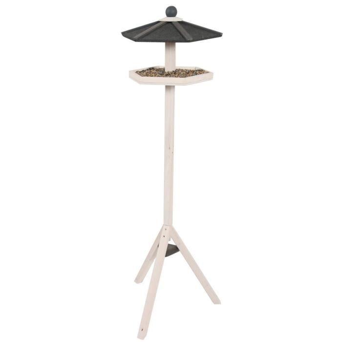 mangeoire pour oiseaux en bois sur pied hexa hauteur 1 44 m environ pour oiseaux du jardin. Black Bedroom Furniture Sets. Home Design Ideas