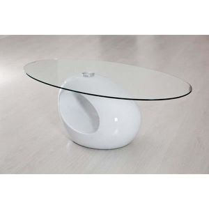 TABLE BASSE Table oeuf blanche