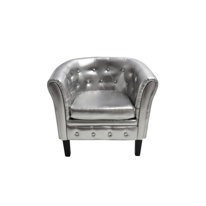 Fauteuil chesterfield argent achat vente fauteuil gris cdiscount - Fauteuil chesterfield argent ...