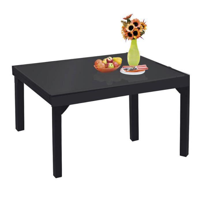 table de jardin modulo noir 6 10 personnes en aluminium avec rallonges achat vente table. Black Bedroom Furniture Sets. Home Design Ideas