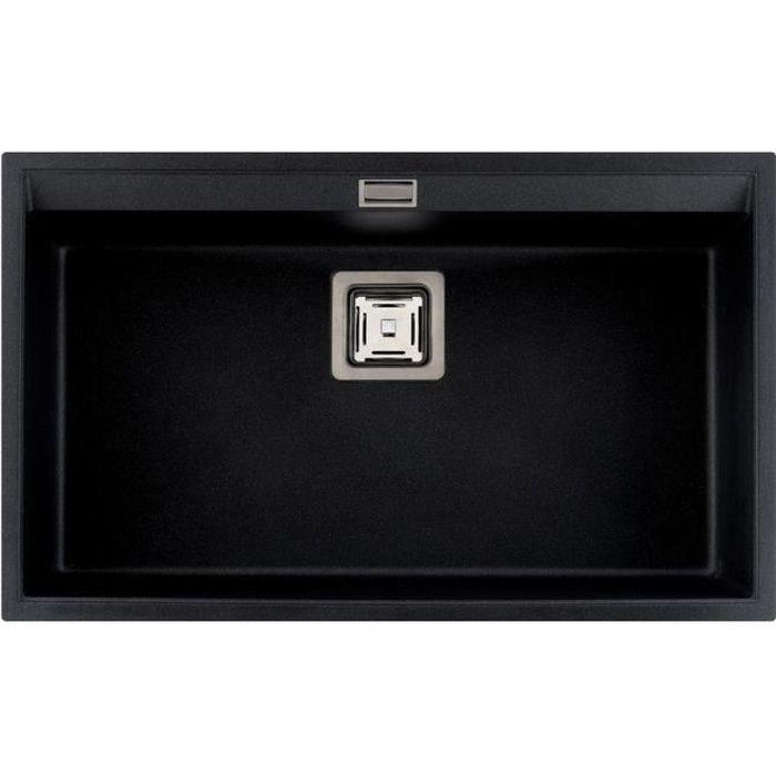 vier granit noir aquasanita delis 1 bac achat vente evier de cuisine vier granit noir. Black Bedroom Furniture Sets. Home Design Ideas