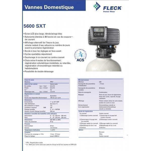 adoucisseur d 39 eau volum trique fleck 5600 sxt 22 litres de r sine robustesse garantie. Black Bedroom Furniture Sets. Home Design Ideas