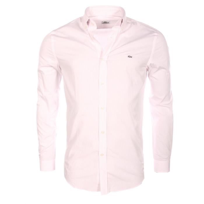 Lacoste homme chemise rayures roses regular fit ch9169 9ys rose rose achat vente - Chemise rose pale homme ...