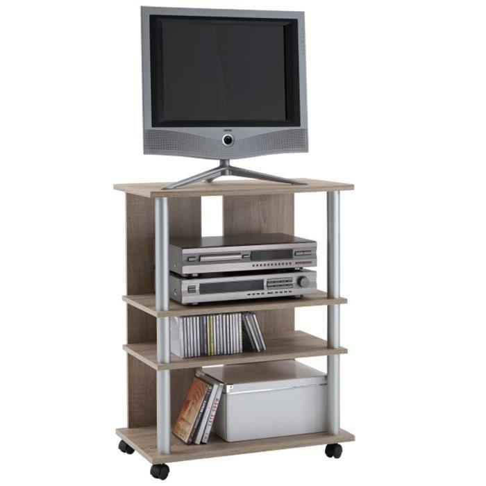 meuble tv avec 4 plateaux sur roulettes coloris ch ne l65. Black Bedroom Furniture Sets. Home Design Ideas