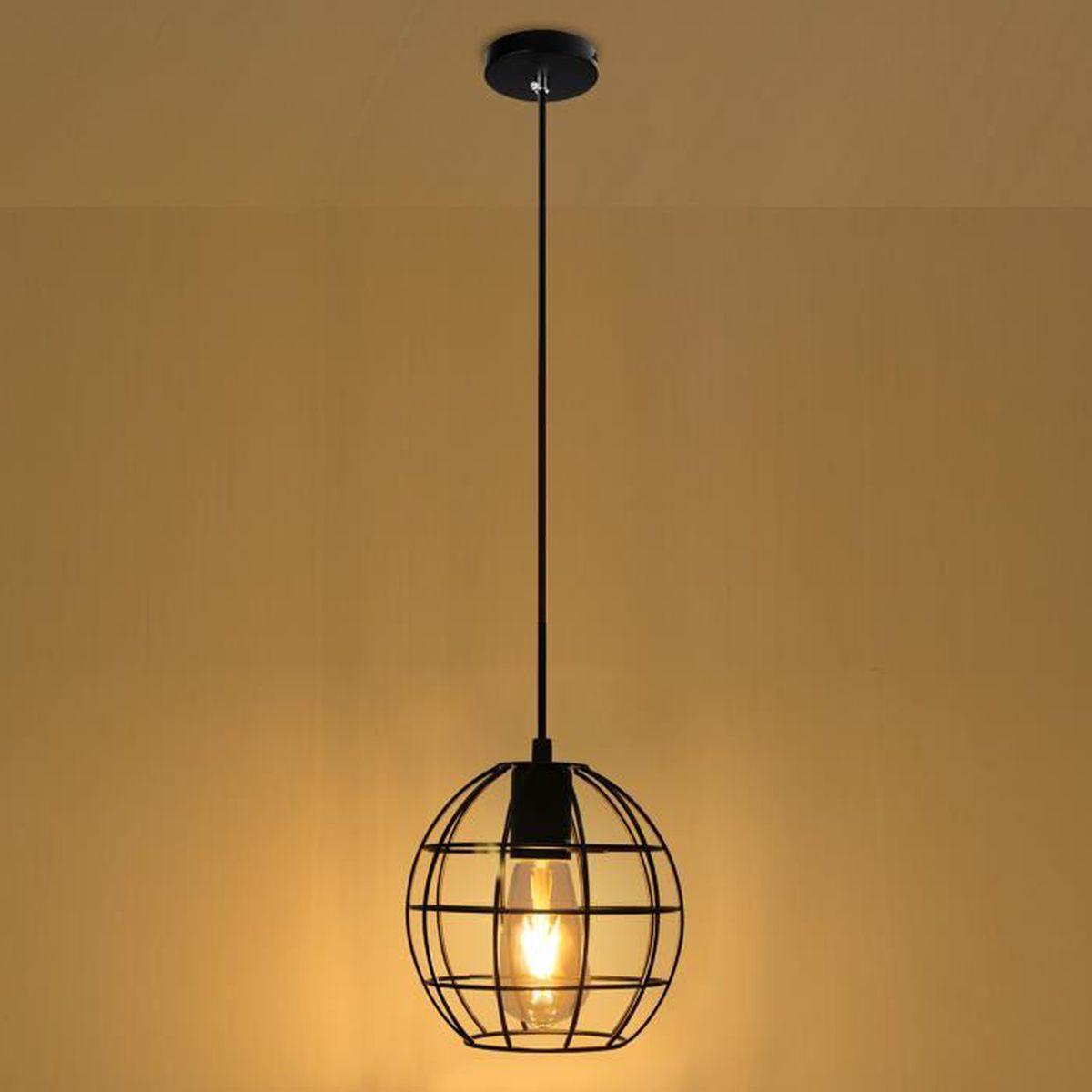 Vintage m tal cage pendentif protecteur de lampe for Lampe suspendue chambre