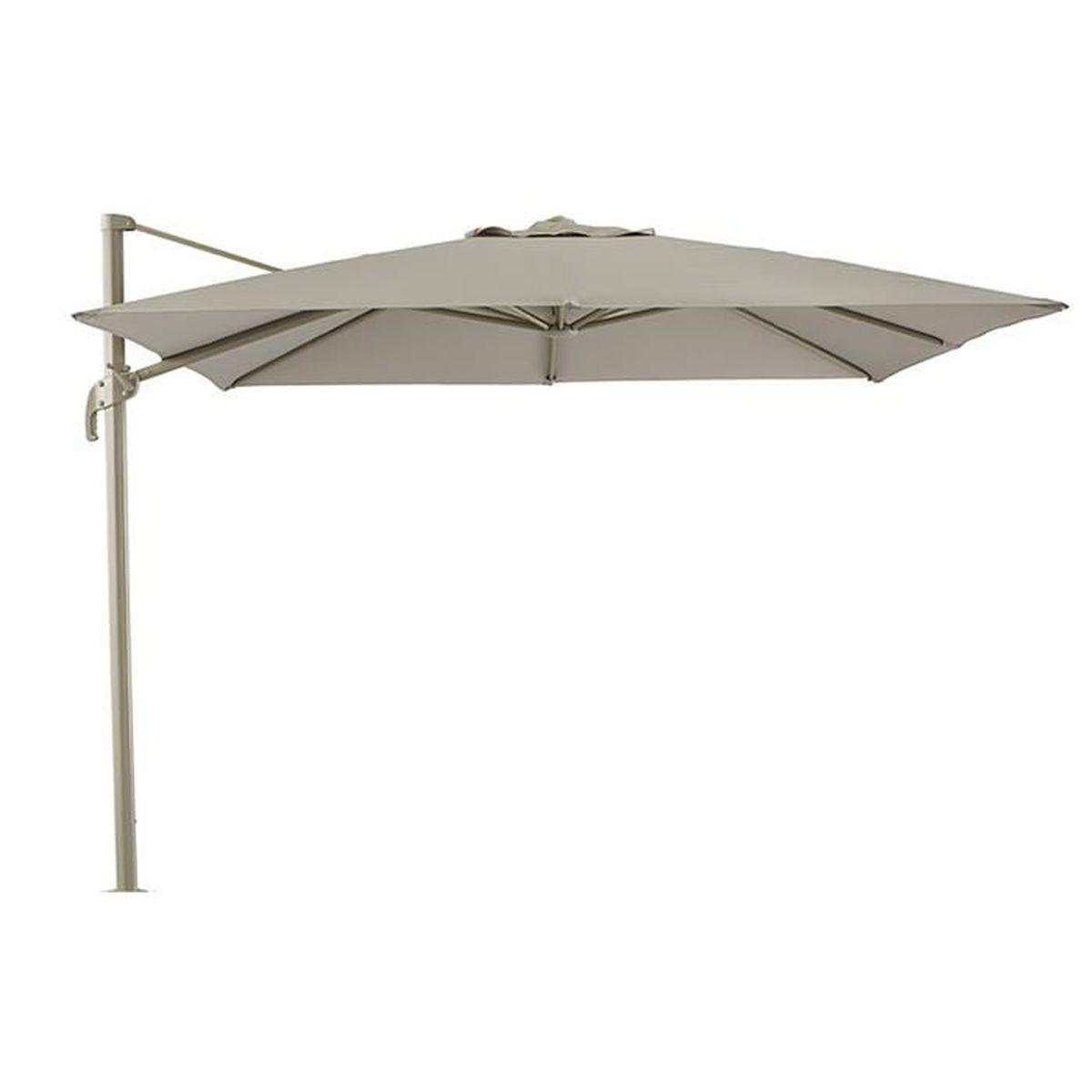 Parasol d port taupe en aluminium et polyester pied non compris 3 x 3 x 2 6 - Pied parasol deporte ...