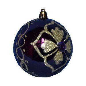 Boule de noël décorée - Fleur et diamant - Violet