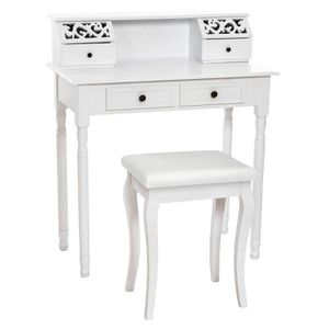coiffeuse meuble table de maquillage secr taire commode 4 tiroirs tabouret blanche tectake. Black Bedroom Furniture Sets. Home Design Ideas