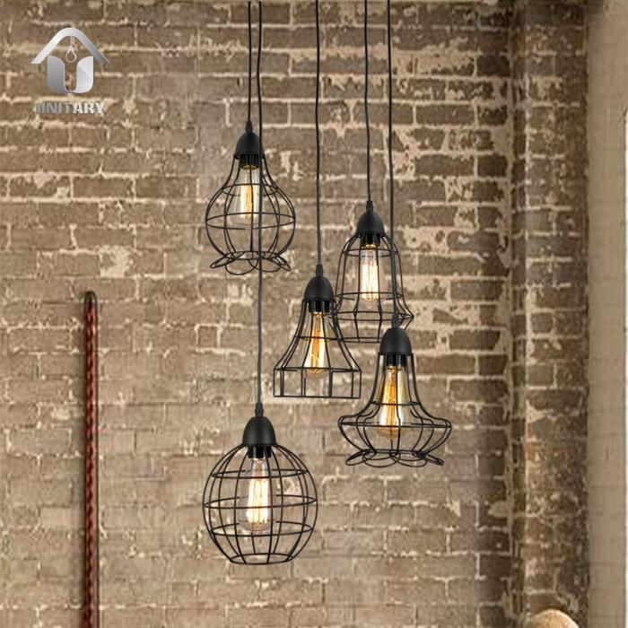 Country Barn Style Kitchen Light Fixtures Amazon Com: Unitary BRAND Suspension Vintage Design Cage E27 5x40W