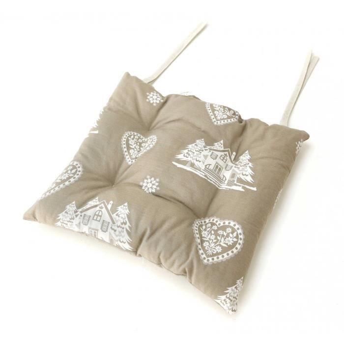 Galette de chaise style montagne courchevel taupe aspin for Galette de chaise taupe