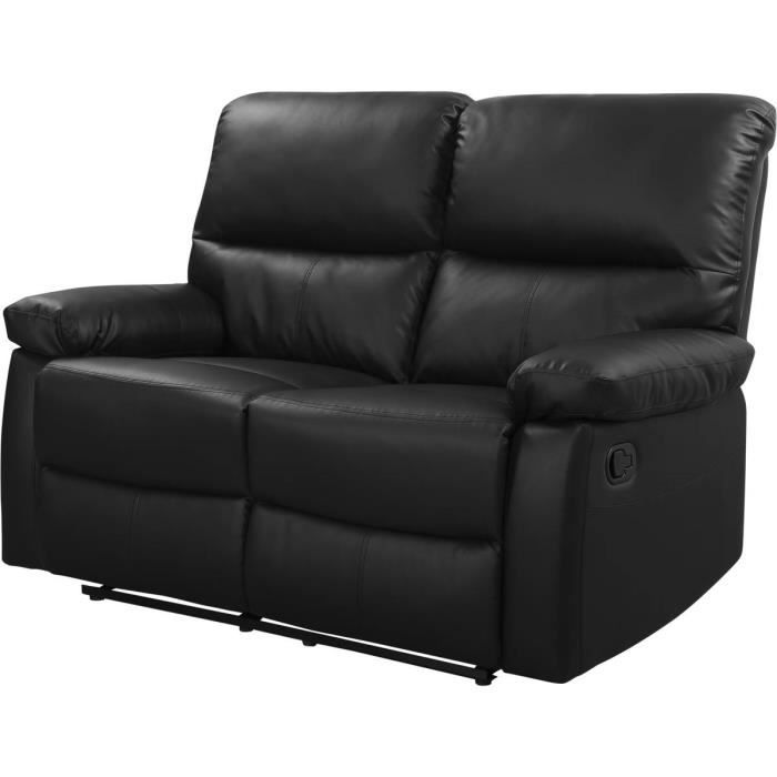 Canap relax 2 places lincoln coloris noir achat - Canape relax discount ...