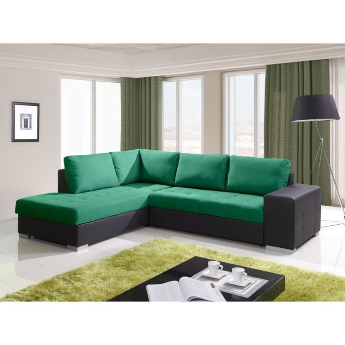 justhome porto canap d 39 angle couleur vert l27 h x l x l 88 x 212 x 280 cm achat vente. Black Bedroom Furniture Sets. Home Design Ideas