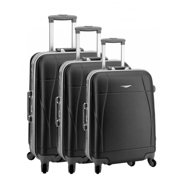 set de 3 valises 4 roues prague noir noir achat vente set de valises 3663453000125 cdiscount. Black Bedroom Furniture Sets. Home Design Ideas