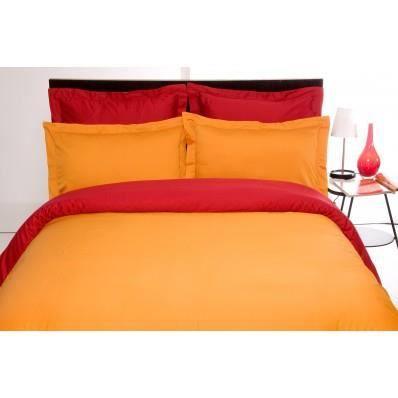 Housse de couette bicolore orange et bordeaux satin de for Housse de couette orange