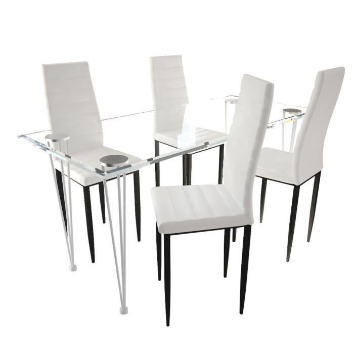 4 Chaises Blanches Aux Lignes Fines Avec Une Table En Verre Achat Vente Table A Manger