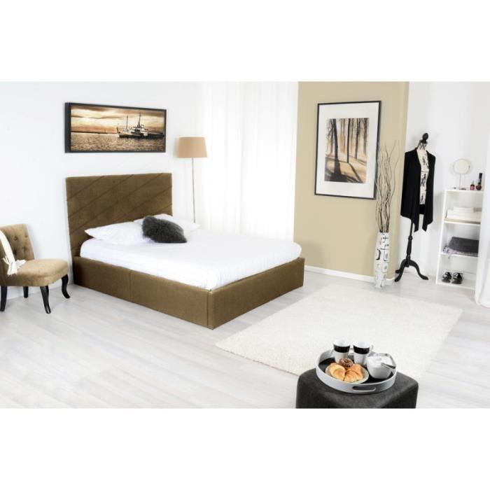 diag lit coffre adulte 140x190 cm sommier taupe achat vente structure de lit cdiscount. Black Bedroom Furniture Sets. Home Design Ideas