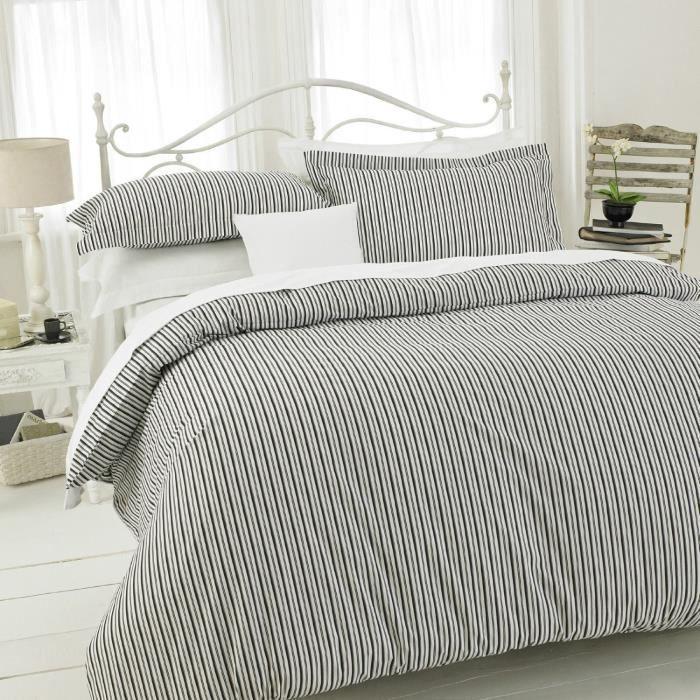Tc150 housse de couette stripe noir double 200x200 36cm - Housse de couette double ...