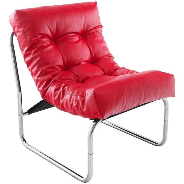 Fauteuil design capitonn rouge psy achat vente fauteuil m tal pu cdis - Fauteuil capitonne rouge ...