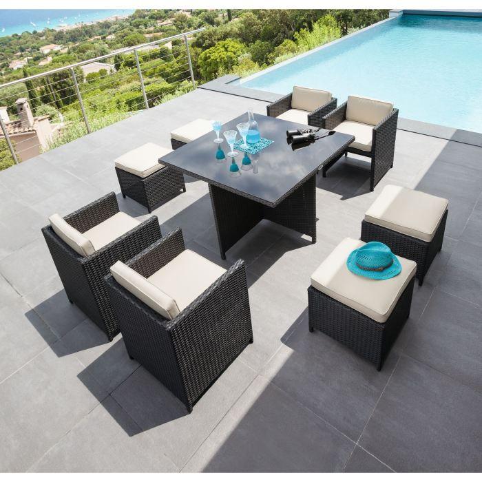 ensemble repas mayotte noir achat vente table de jardin ensemble repas mayotte noir cdiscount. Black Bedroom Furniture Sets. Home Design Ideas