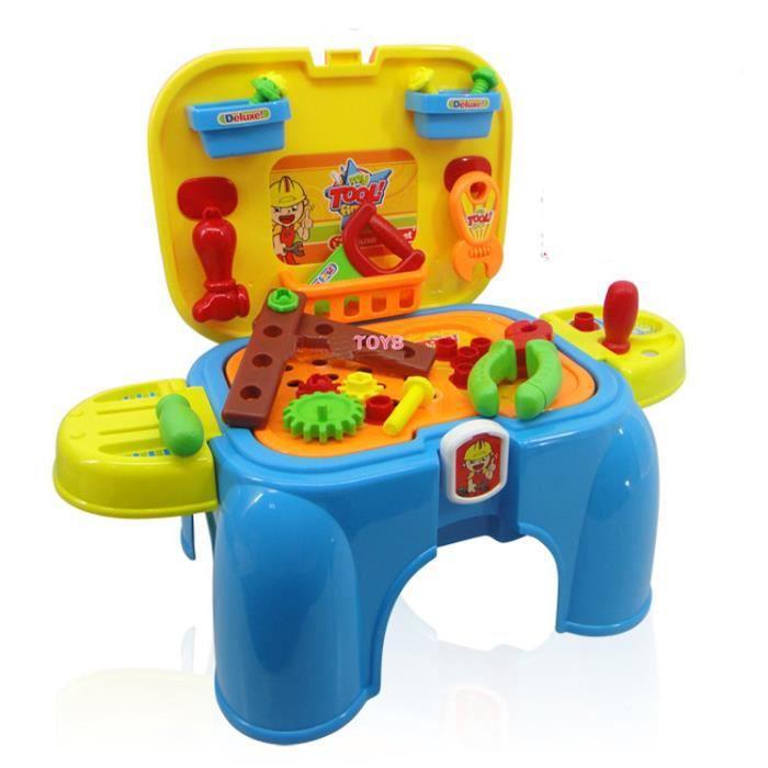 Mcsays 2 en 1 dinette outils de bricolage rangement chaise de outils jouets p - Vente privee de bricolage ...