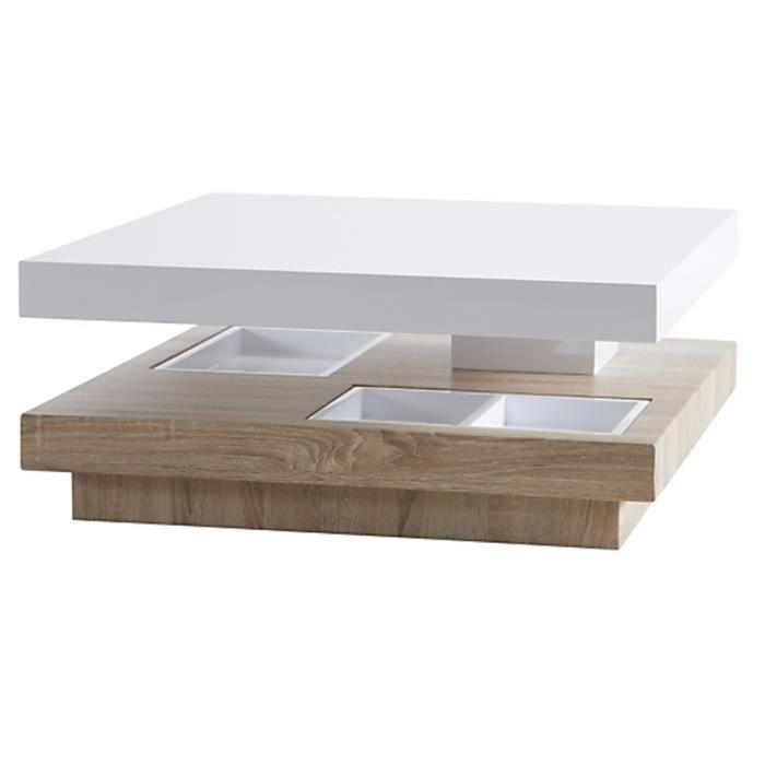 Table basse en bois l80cm avec dessus pivotant et rangements 80 x 33 x 80 cm - Table basse grand format ...