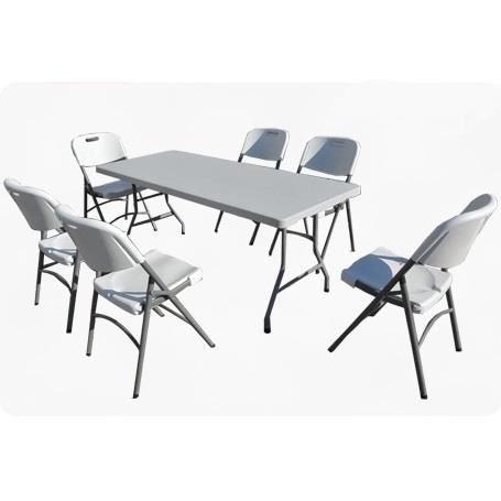 ensemble table valise 6 chaises pliantes achat vente salon de jardin ensemble table valise. Black Bedroom Furniture Sets. Home Design Ideas