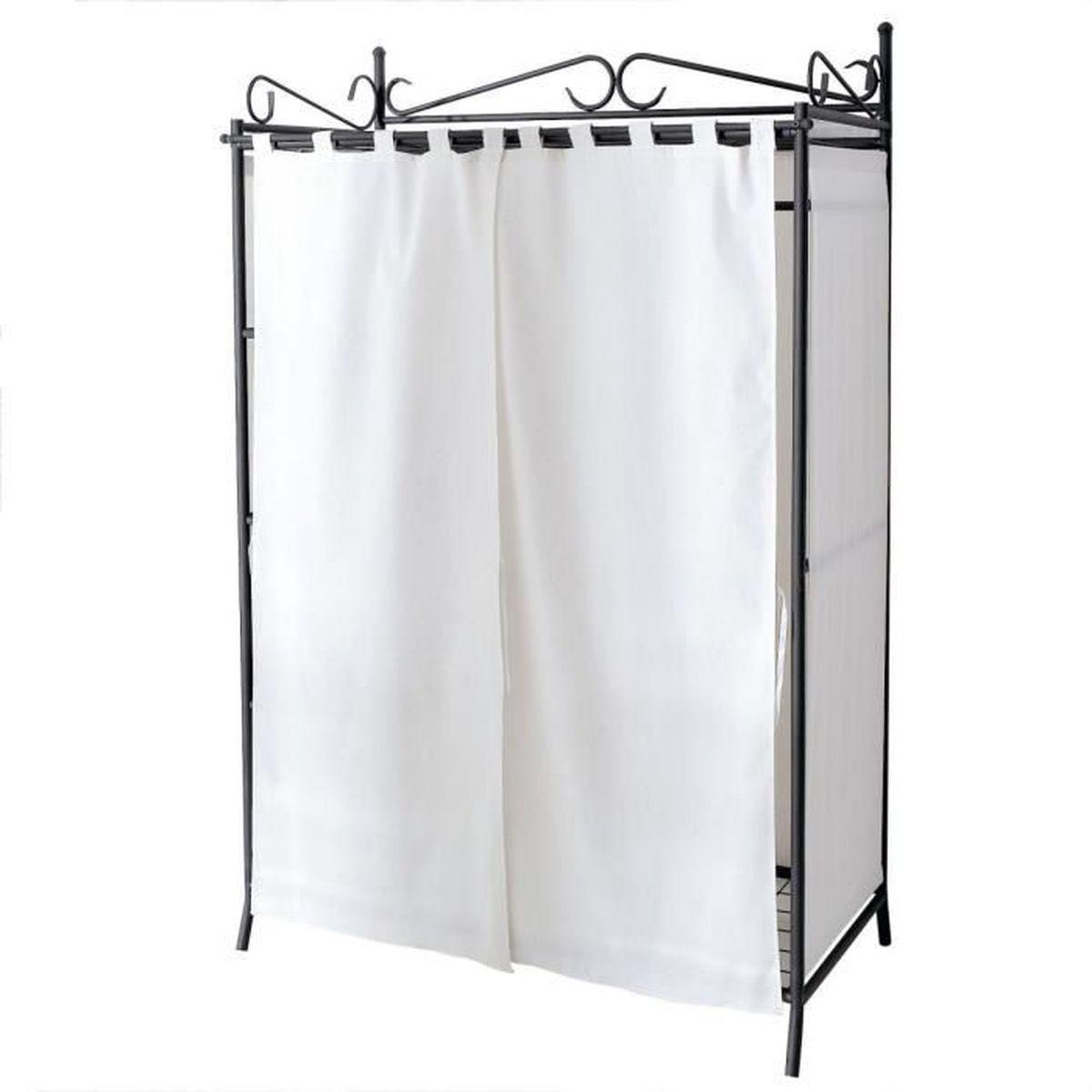 liamare penderie breezy avec structure en m tal et rideaux en coton beige noir env 109 x 57. Black Bedroom Furniture Sets. Home Design Ideas