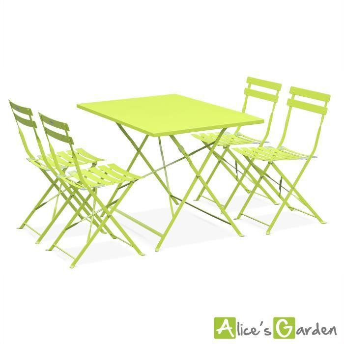 Salon de jardin bistrot pliable emilia rectangulaire vert anis table 110x70cm avec quatre Table de jardin pliable cdiscount