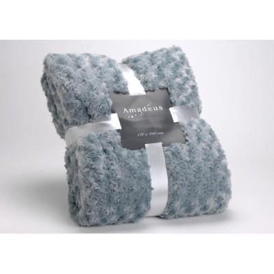 plaid boutons bleu gris amadeus 170x130 achat vente. Black Bedroom Furniture Sets. Home Design Ideas