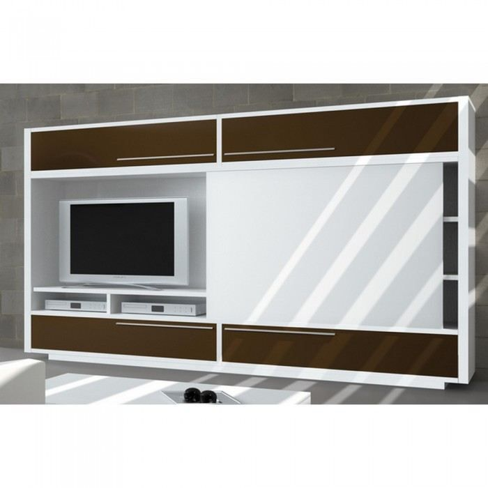 meuble tv biblioth que domino avec porte coulis achat. Black Bedroom Furniture Sets. Home Design Ideas