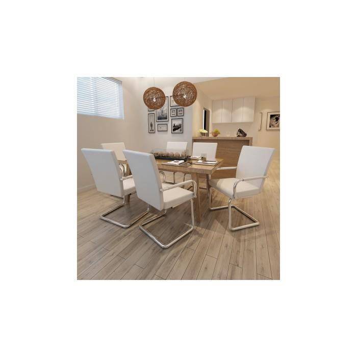 Ensemble de 6 chaises de salle manger blanc achat for Chaise salle a manger de qualite