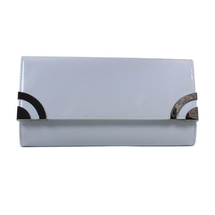 Sac A Main Blanc Pochette : Pochette mini sac ? main blanc uni vernis et m?tal femme
